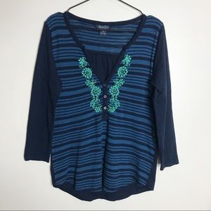 LUCKY BRAND- Striped Embroidered V Neck Top